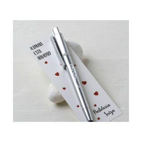 Bolígrafo ,puntero tàctil ,led en punto de libro corazones
