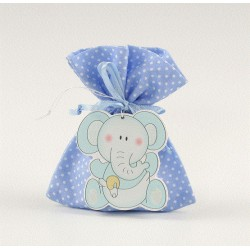 Saquito azul topos potpourri con colgante elefante