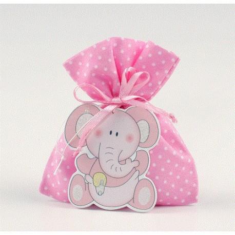 Saquito rosa topos potpourri con colgante elefante