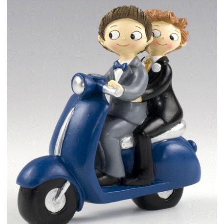 Figura tarta bodas novios chicos en moto