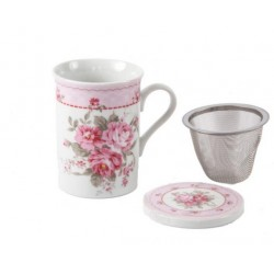 Taza infusionador inox. flores rosa